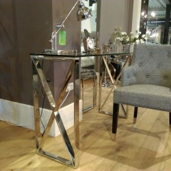 Konsola Modern Classic szklana niklowana nogi krzyżak