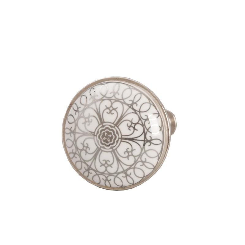 Ceramiczna biała gałka z szarym wzorem uchwyt komoda/szuflada