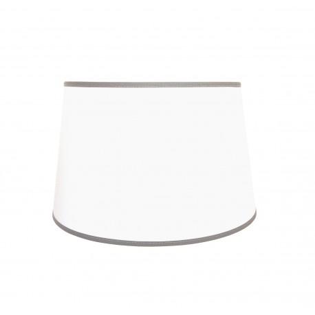 Biały abażur z szarą lamówka lampa stołowa
