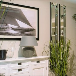Wysokie dekoracyjne wąskie lustro na śnianę w lustrzanej ramie