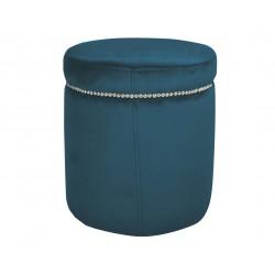 M0dna niebieska welurowa pufa do sypialni salonu z taśmą
