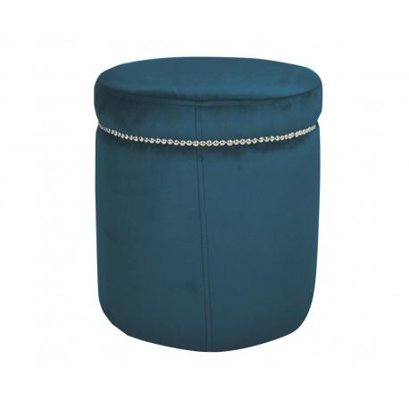 062be1dcdc Modna niebieska welurowa pufa do sypialni salonu z taśmą