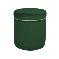 Modna zielona welurowa pufa do sypialni salonu z taśmą