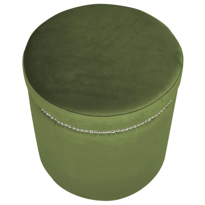 Modna  welurowa pufa w kolorze ciepłej zieleni do sypialni salonu z taśmą