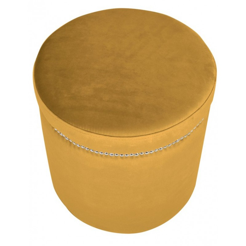 Modna żółta welurowa pufa do sypialni salonu z taśmą