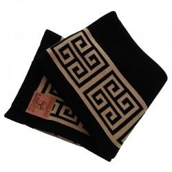 Luksusowy bawełniany pled do sypialni salonu w kolorach czarny/złoty
