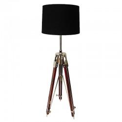 Lampa podłogowa  na trzech nogach Hamptons. Drewno/Nikiel