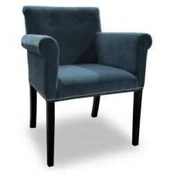 Szaro- niebieski fotel tapicerowany w tkaninie welurowej z oparciami New York