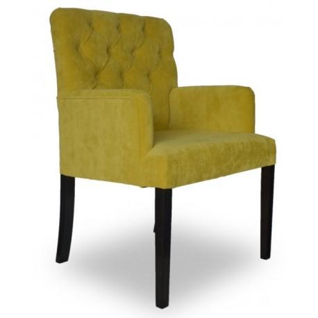 Modny fotel z pikowaniem do wnętrza Modern Classik kolor limonka