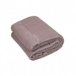 Pudrowo-różowa gruba welurowa narzuta 180x260 pikowana w kostkę