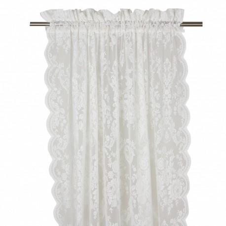 Koronkowa firana-zasłona na okno do sypialni. Kolor mleczno biały