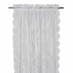 Koronkowa firana-zasłona na okno do sypialni. Kolor śnieżno biały.