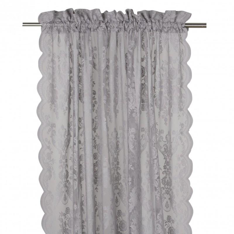 Koronkowa firana-zasłona na okno do sypialni. Kolor szary.