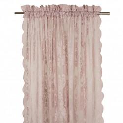 Koronkowa firana-zasłona na okno do sypialni. Kolor pudrowy róż.