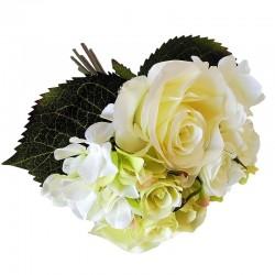Biały bukiet kwiatów do sypialni lub salonu róża hortensa