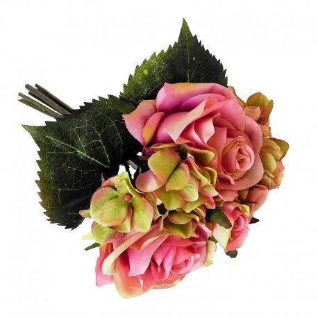 Elegancki pastelowy bukiet kwiatów do sypialni róża hortensa