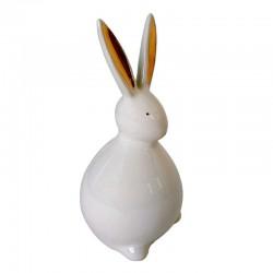 Biały ceramiczny zajączek wielkanocny wys14