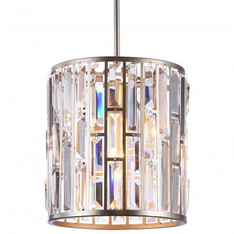 Luksusowa lampa wisząca złoto srebrna z kryształami