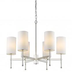 Niklowana lampa wisząca z białymi abażurkami Modern Classic