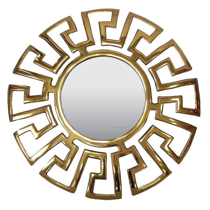 Niklowane złote lustro do sypialni nad łóżko wzór Versace