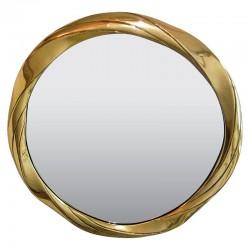Okrągłe lustro w złotej ramie nad kominek konsolę