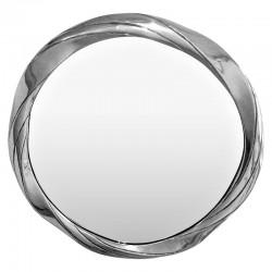 Okrągłe lustro 76cm w srebrnej błyszczacej ramie nad kominek konsolę