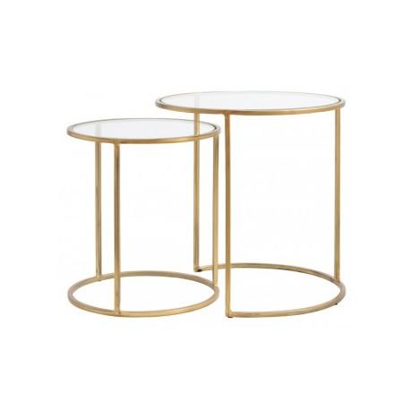 Dwa złote stoliki kawowe w komplecie ze szklanym blatem