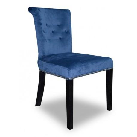 Niebieskie tapicerowane krzesło do jadalni z pineskami w stylu New York