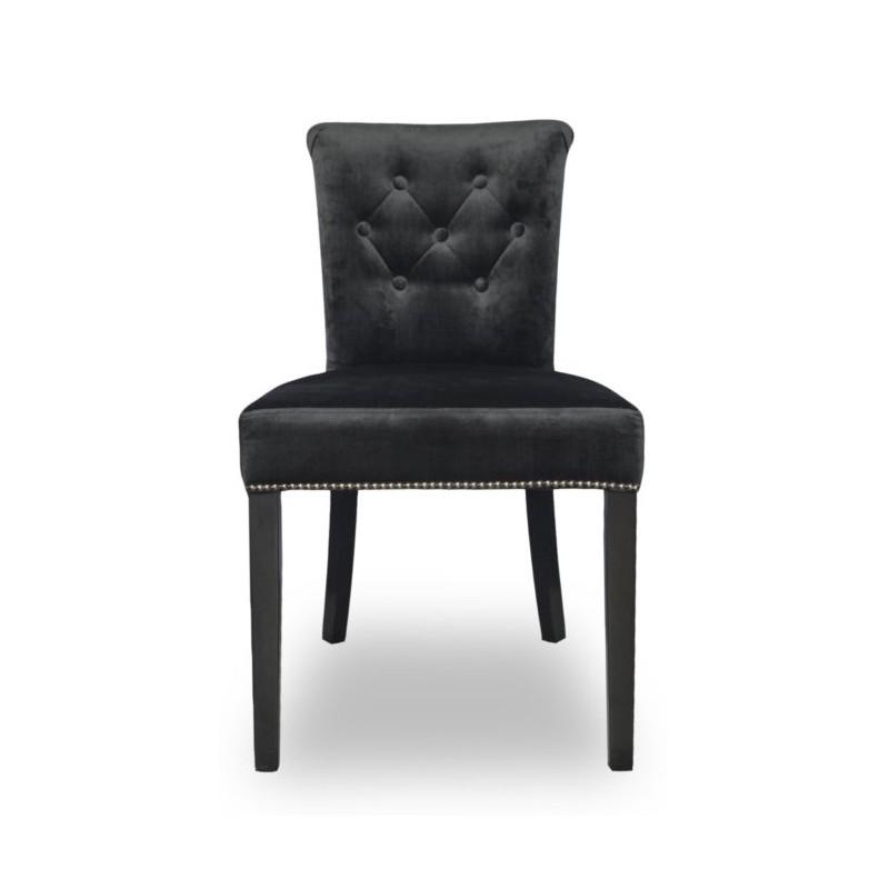 Tapicerowane welurowe krzesło do jadalni z pineskami w stylu New York-producent
