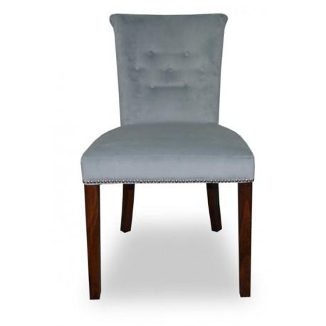 Tapicerowane szare welurowe krzesło do jadalni z pineskami w stylu Glamour-producent