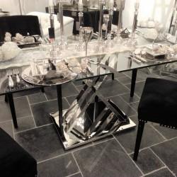 Szklany niklowany stół 180X90X75 do wnętrz nowoczesnych, New York, Modern Classic