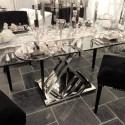 Szklany niklowany stół glamour do wnętrz New York, Modern Classic