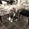 Szklany niklowany stół 160X90X75 do wnętrz nowoczesnych, New York, Modern Classic