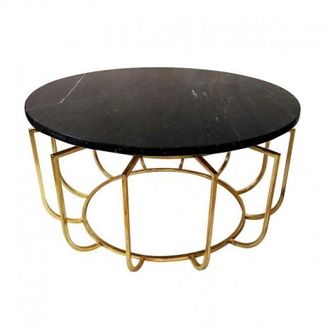 Złota okrągła ława z marmurowym blatem Art Deco