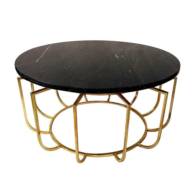 Złota okrągła ława Ø 70 z marmurowym blatem Art Deco