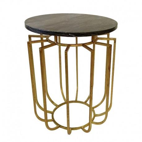 Złoty okrągy stolik z marmurowym blatem Art Deco