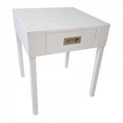 Biały lakierowany stolik nocny-boczny Glamour New York