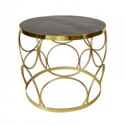 Złoty stolik boczny 50X44 /kawowy wnętrza Art Deco