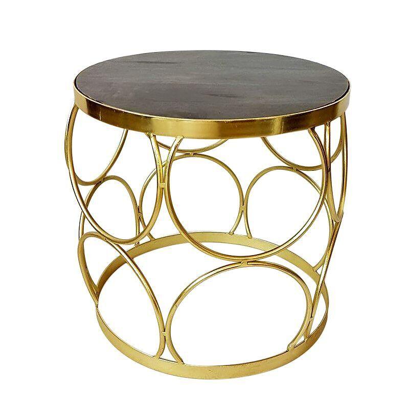 Złoty Stolik Boczny 40x40 Kawowy Wnętrza Art Deco
