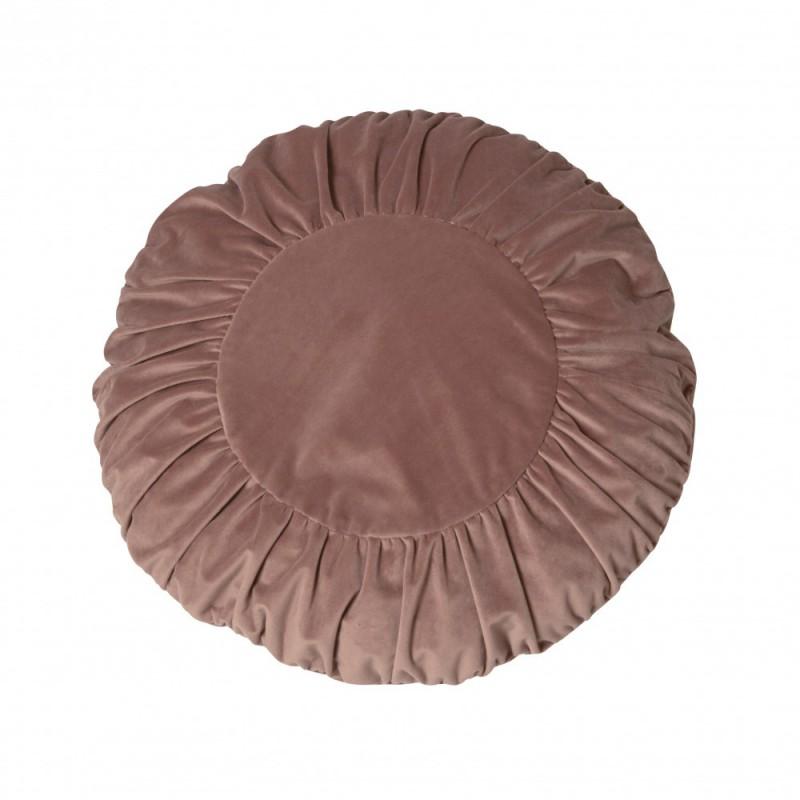 Modna aksamitna okrągła poduszka na sofę w kolorze pudrowy róż