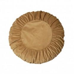 Modna aksamitna okrągła poduszka na sofę w kolorze złotym