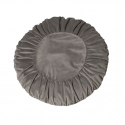 Modna aksamitna okrągła poduszka na sofę w kolorze szarym