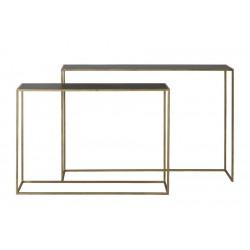 Złota konsola ze szklaną czarną szybą 120x25x800