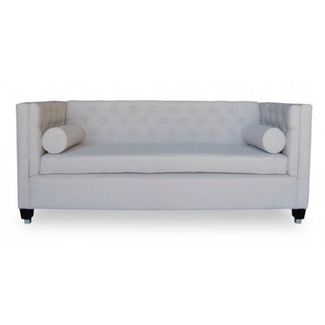 Elegancka pikowana popielata sofa dł.200cm do salonu Modern Classic