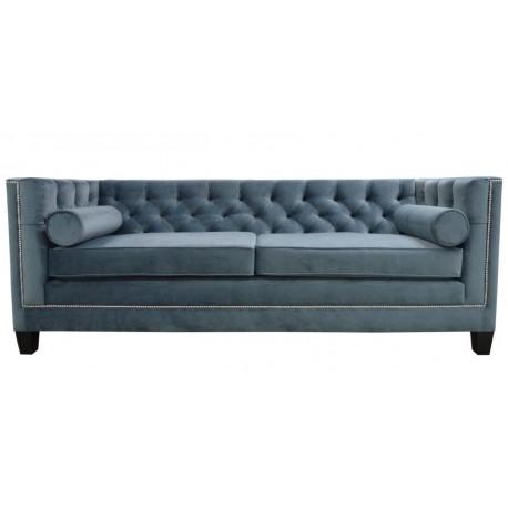 Welurowa sofa pikowana do salonu New York z pineskami