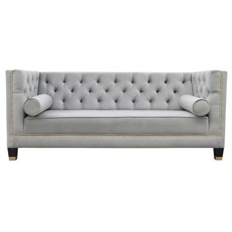 Welurowa sofa pikowana dł.200cm jasno szara do salonu New York z pineskami