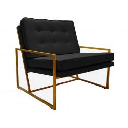 Czarny fotel z guzikami ze złotym stelarzem