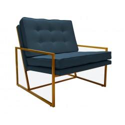 Modny Niebieski fotel na metalowy stelarzu