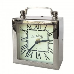 Niklowany zegarek na stolik nocny