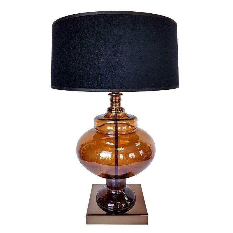 Nowoczesna szklana lampa stołowa w modnym kolorze